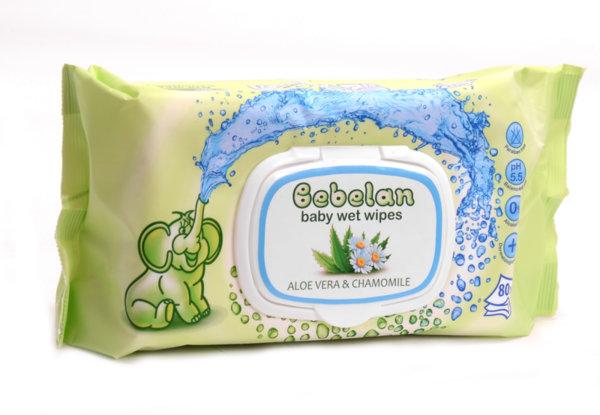 Bebelan Мокри кърпички за бебе алое и лайка 80 бр
